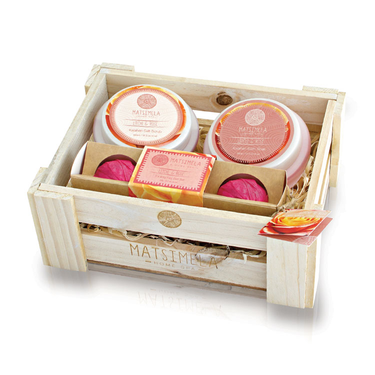 Litchi & Rose Products In A Crate | Matsimela Home Spa 86