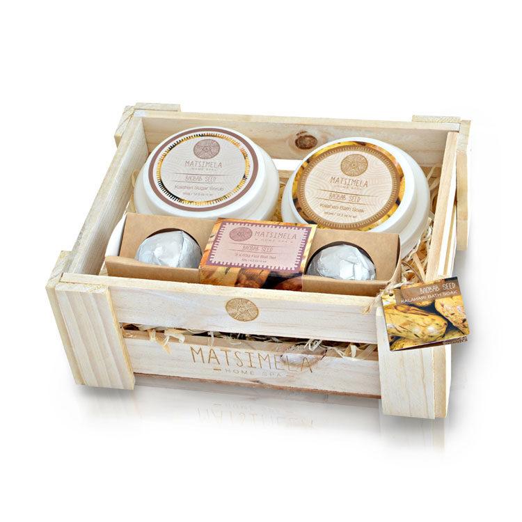 Baobab Seed Products In A Crate | Matsimela Home Spa