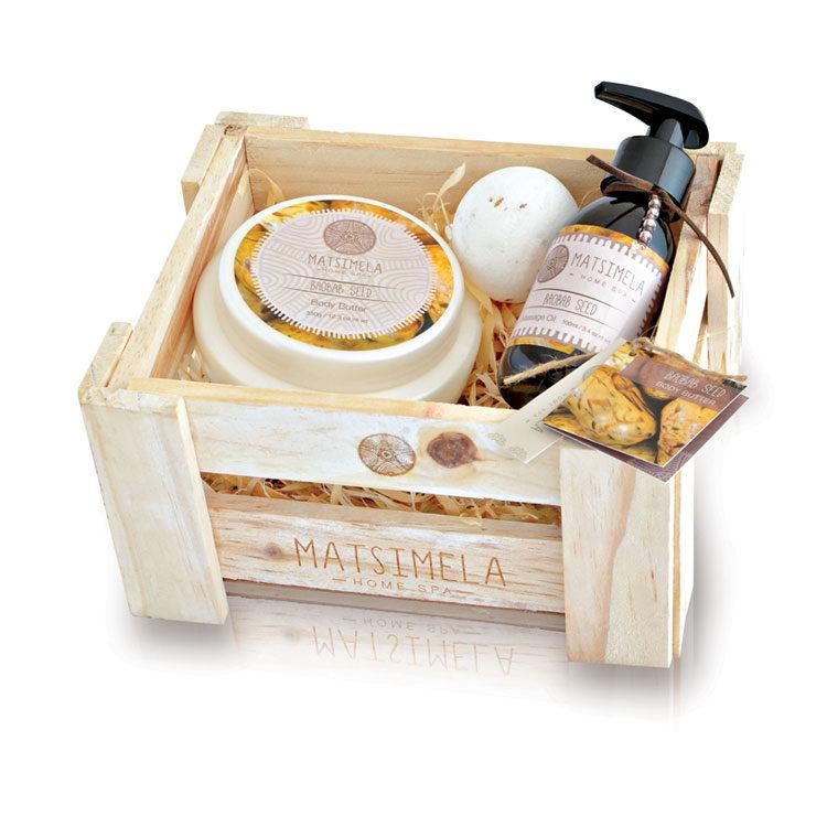 Baobab Seed Products In A Crate | Matsimela Home Spa 1