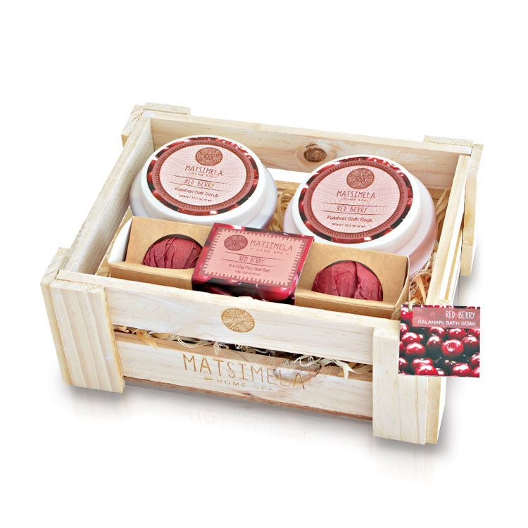 Red Berry Products In A Crate | Matsimela Home Spa 1