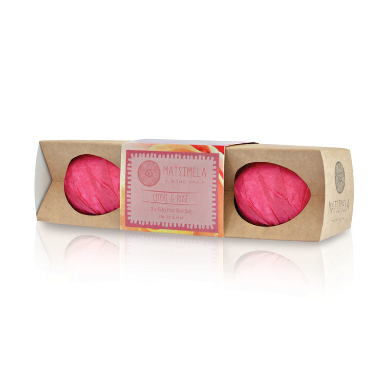 Litchi & Rose Fizz Ball Set | Matsimela Home Spa 5